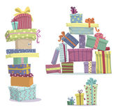 Piles of presents. Doodle heaps of gift boxes — Stock Vector