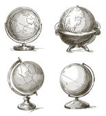 Set of hand drawn globes. Vector illustration. — Stock Vector