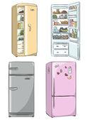 Set of four hand drawn cartoon fridges. open fridge with healthy food. — Stock Vector