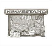 Newsstand. Hand drawn press kiosk. vector illustration. — Stock Vector