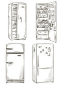 Set of four hand drawn fridges. open fridge with healthy food. Vector illustration. — Stock Vector