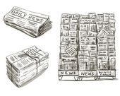 Press. Newspaper stand. Newsstand. — Stock Vector