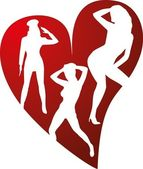 Red heart dancer girls — Vector de stock
