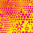 Yellow background pink dot flower vector art — Imagens vectoriais em stock