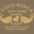 Gold wings equestrian vector art - Stock Photo