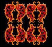 Black background fire tribal vector art — Stockvector