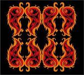 Black background fire tribal vector art — Stock Vector