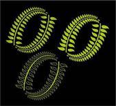 Green background wreath leaf vector art — Stock Vector