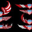American flag wings shield vector art - Stock Vector