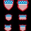 Black background american flag shield vector art - Stock Vector