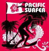 Pasifik sörfçü vektör grafik tasarım — Stok Vektör