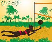Pacific ocean beach volley vector art — Stock Vector