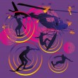 Pacific surfer and helicopter vector art - Stock Vector
