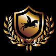 Horse wings gold shield  vector art - Stock Vector
