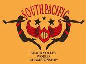 South pacific ocean beach volley vector art — Stock Vector