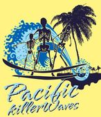 Oceano pacífico surfista esqueleto vetor arte — Vetorial Stock