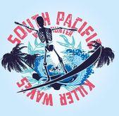 Pacific ocean skeleton surfer vector art — Stock Vector