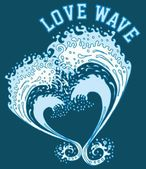 Big and love wave vector art — Stock vektor