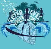 Arte de océano pacífico surfista esqueleto vector — Vector de stock