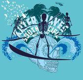 Oceano pacifico scheletro surfista vettore d'arte — Vettoriale Stock
