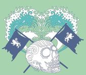 Tribal tattoo skull and lion flag vector art — Stock Vector