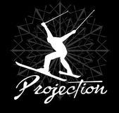 Arte de vector de esquiador de deportes de invierno — Vector de stock