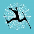 Blue background skier vector art — Vettoriali Stock