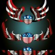 Royalty-Free Stock Vector Image: American flag wings and shield vector art