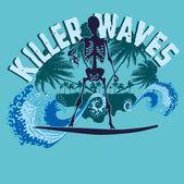 Palm beach skeleton surfer vector art — Stock Vector