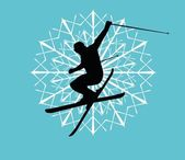 Blue background skier vector art — Stock Vector
