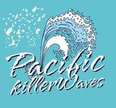 Océano pacífico olas asesinas arte vectorial — Vector de stock
