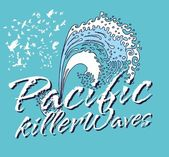 Pacific ocean killer waves vector art — Stock Vector
