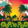 Pacific ocean palm beach vector art - Stockvektor