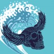 Big wave tattoo skull and wings vector art — Stock Vector #25899633