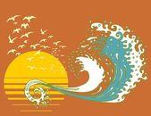 Las olas sol y agua arte vectorial — Vector de stock