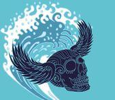 Big wave tattoo skull and wings vector art — Stock Vector