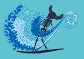 реставрированному тату скелет серфер вектор искусства — Cтоковый вектор