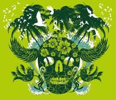 Pacific ocean skull island vector art — Stock Vector
