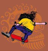 Skull and skate vector art — Stock Vector