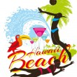 Hawaii beachvolley and palm beach vector art — Stock Vector