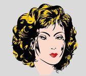Erotic pin-up girl portrait vector art — Stock Vector
