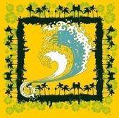 Tropicale arte vettoriale di palm beach — Vettoriale Stock