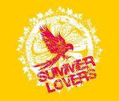 Summer birds parrot surf beach vector art — Stock Vector
