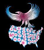Amerikansk karta och eagle eps8 vektor konst — Stockvektor