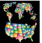 アメリカ色地図ベクトル アート — ストックベクタ