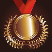 Red ribbon gold medal vector art — Stock Vector