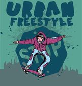 Urban skate team vector art — Stock Vector