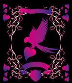 Heart and birds frame vector art — Stock Vector