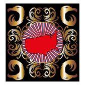 ゴールデン フレーム アメリカ地図ベクトル アート — ストックベクタ