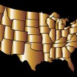 American golden map eps8 vector art — Stock Vector